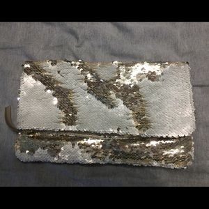 Gold/Oyster sequin clutch